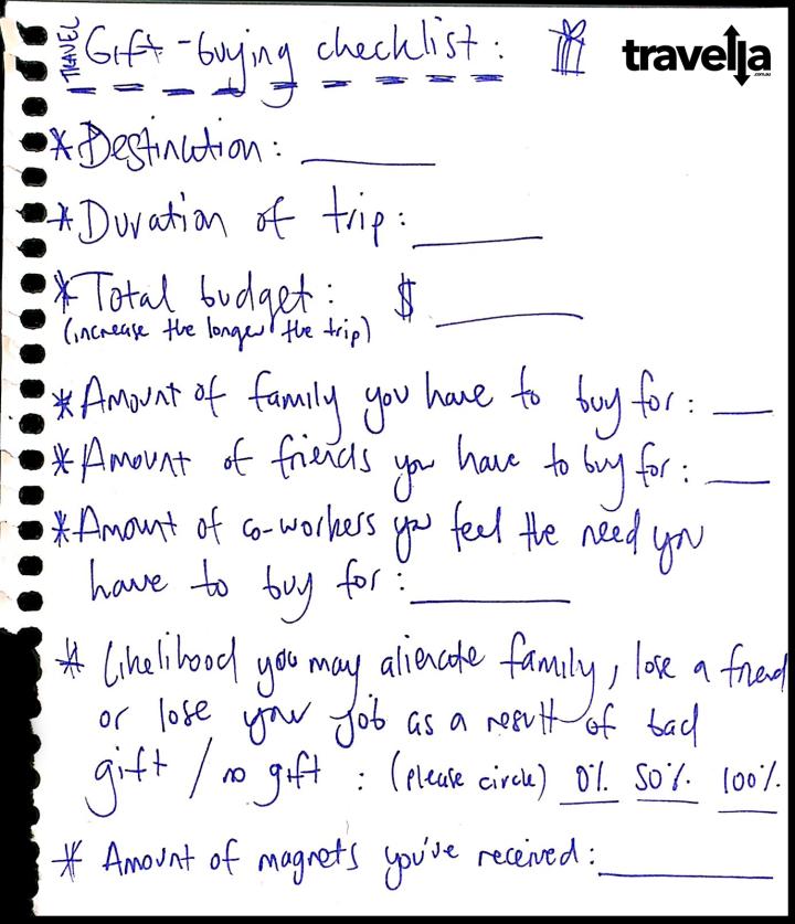 Gift giving checklist
