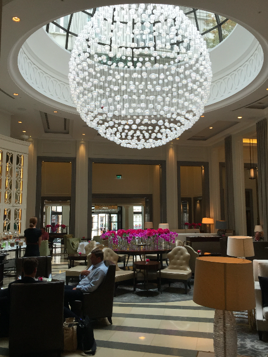 A light fitting that's fitting for a hotel like this